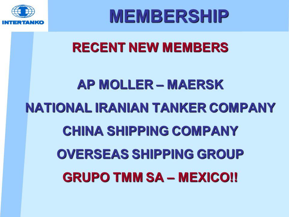 MEMBERSHIP RECENT NEW MEMBERS AP MOLLER – MAERSK NATIONAL IRANIAN TANKER COMPANY CHINA SHIPPING COMPANY OVERSEAS SHIPPING GROUP GRUPO TMM SA – MEXICO!