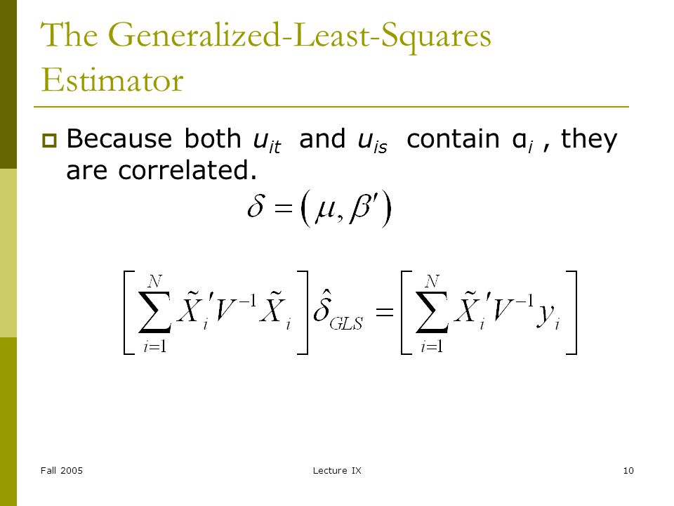 Fall 2005Lecture IX10 The Generalized-Least-Squares Estimator Because both u it and u is contain α i, they are correlated.