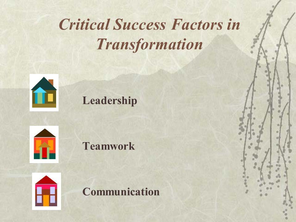 Critical Success Factors in Transformation Leadership Teamwork Communication