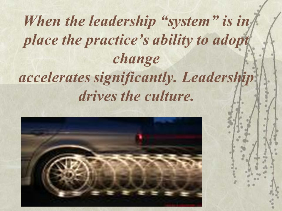 When the leadership system is in place the practices ability to adopt change accelerates significantly.
