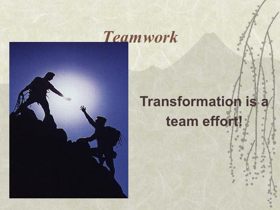 Teamwork Transformation is a team effort!