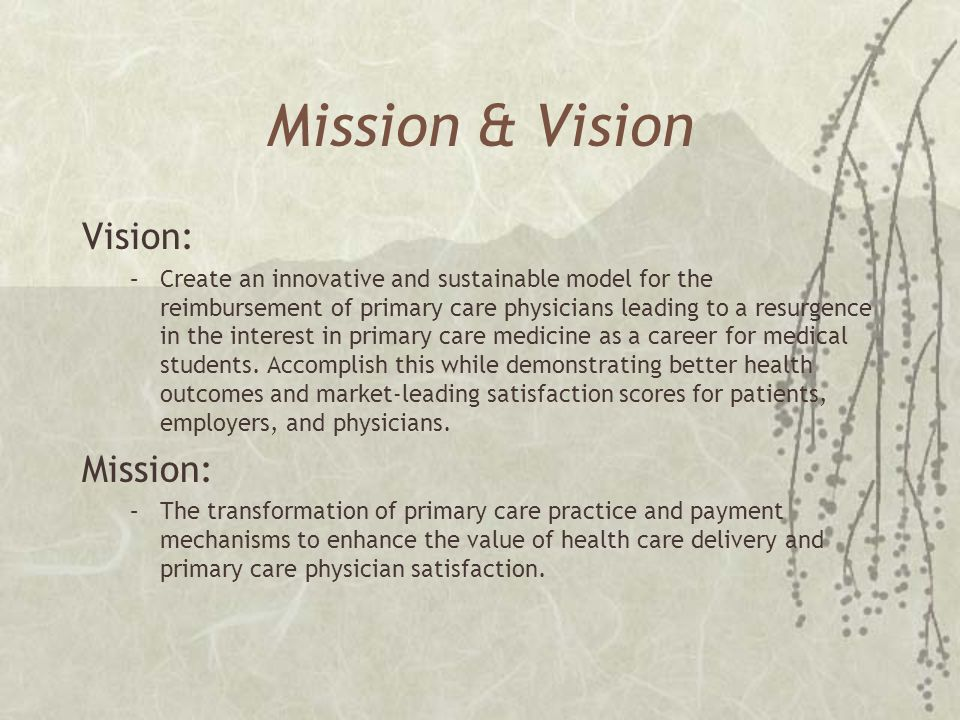 Mission & Vision Vision: –Create an innovative and sustainable model for the reimbursement of primary care physicians leading to a resurgence in the i