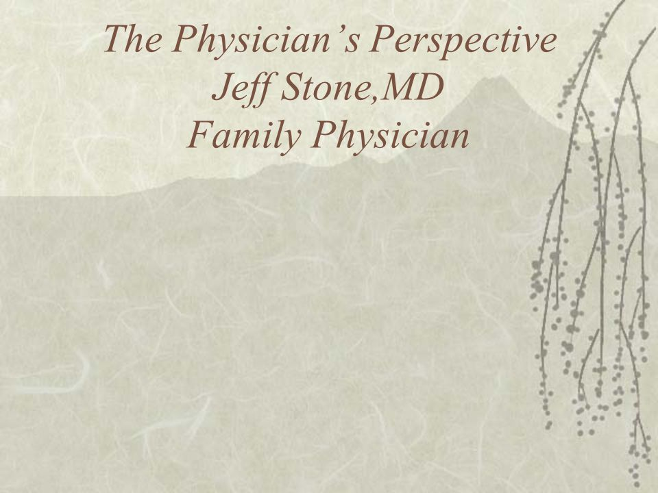 The Physicians Perspective Jeff Stone,MD Family Physician