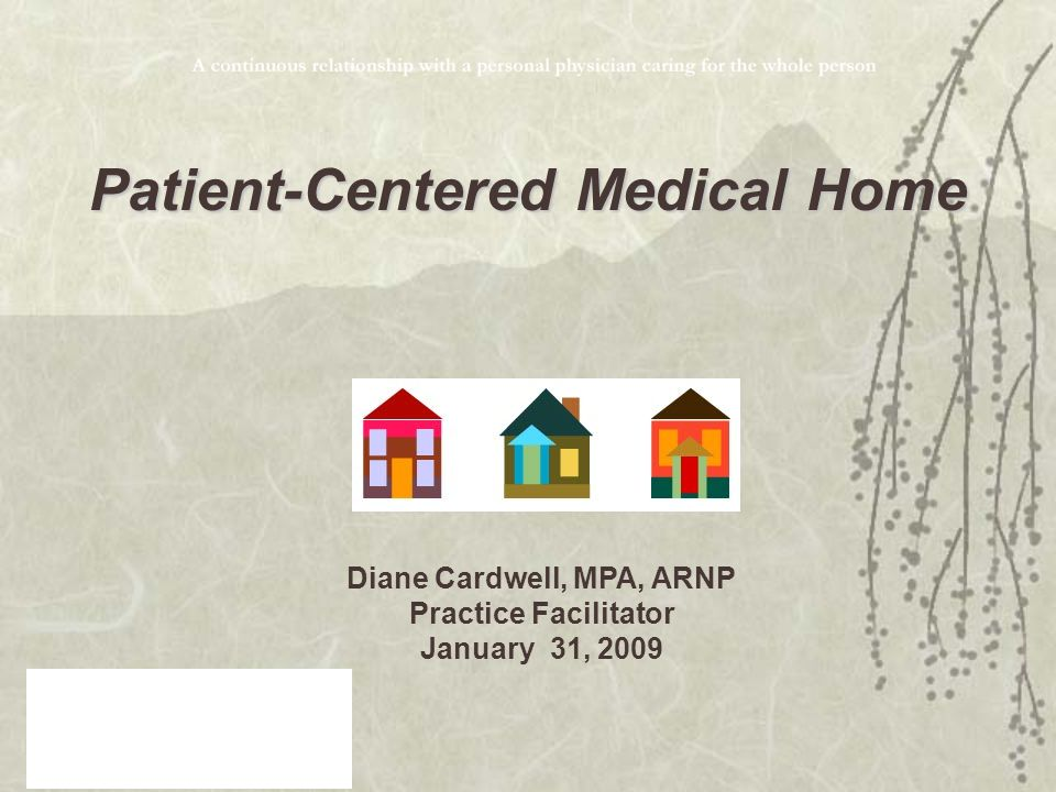 Diane Cardwell, MPA, ARNP Practice Facilitator January 31, 2009 Patient-Centered Medical Home