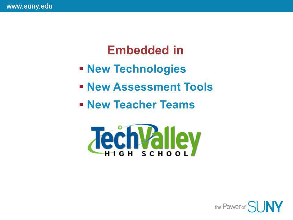 www.suny.edu New Technologies New Assessment Tools New Teacher Teams Embedded in