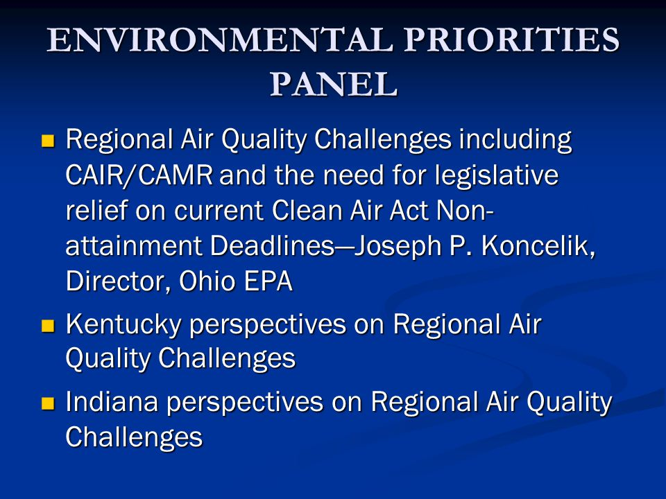 ENVIRONMENTAL PRIORITIES PANEL Regional Air Quality Challenges including CAIR/CAMR and the need for legislative relief on current Clean Air Act Non- attainment DeadlinesJoseph P.