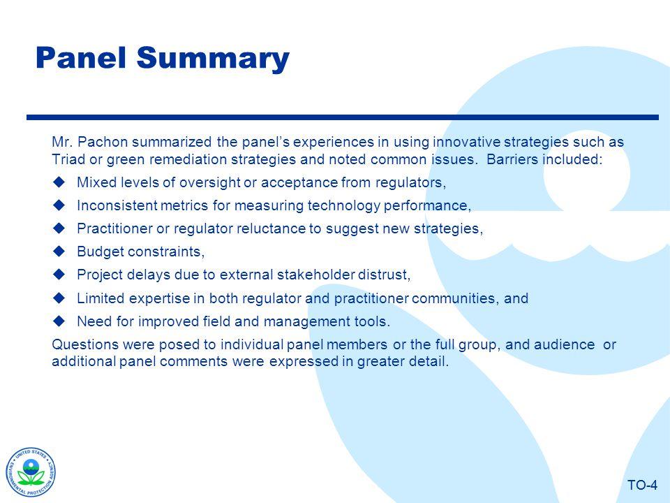 TO-4 Panel Summary Mr.
