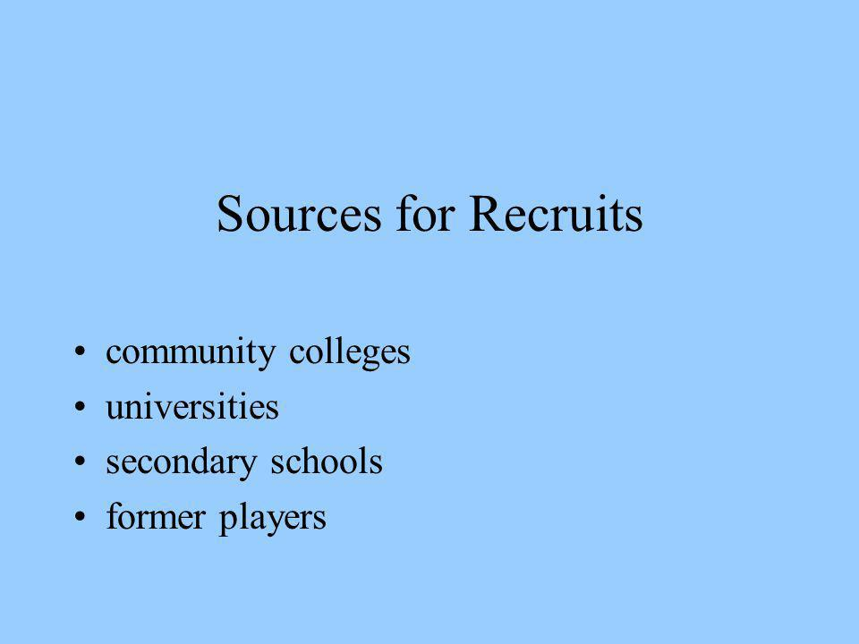 Sources for Recruits community colleges universities secondary schools former players