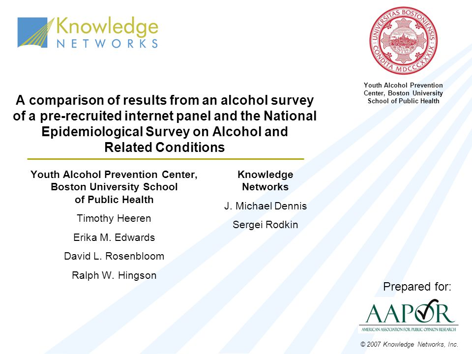 A comparison of results from an alcohol survey of a pre-recruited internet panel and the National Epidemiological Survey on Alcohol and Related Condit