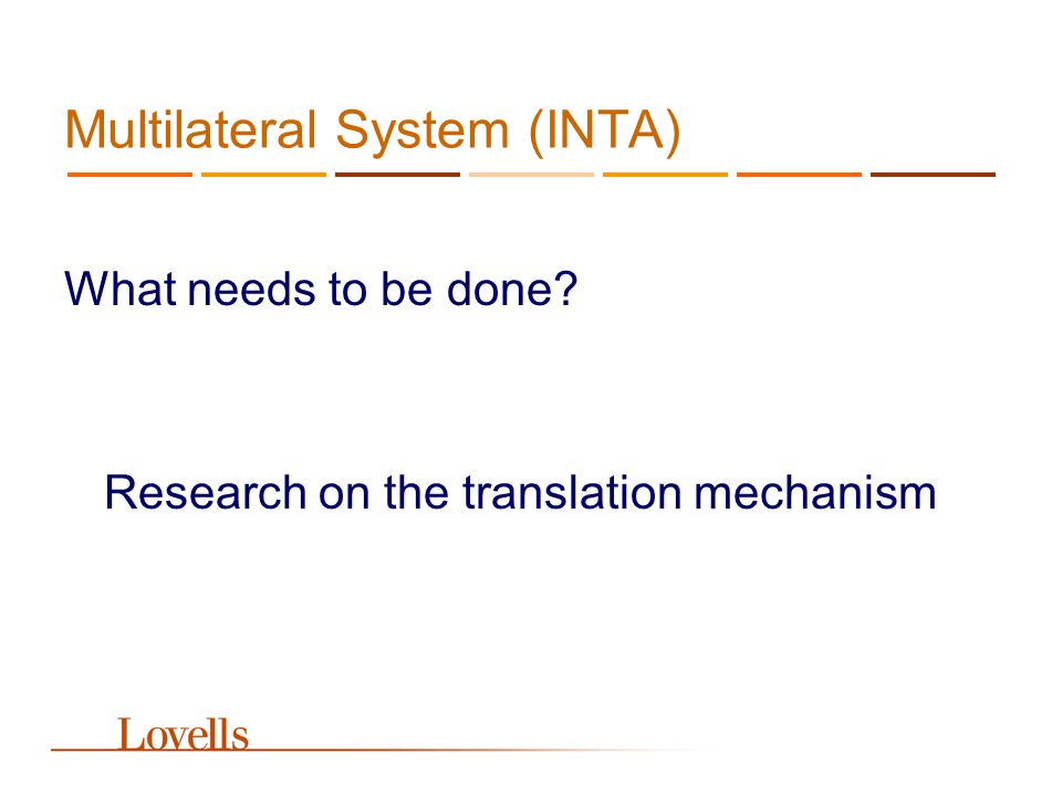 Multilateral System (INTA) What needs to be done? Research on the translation mechanism