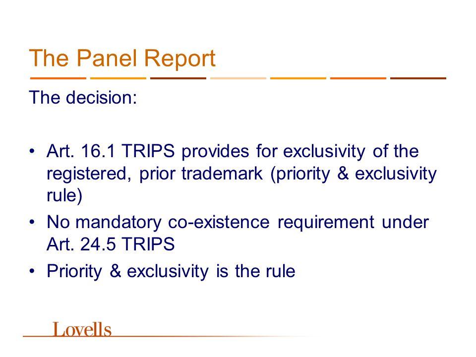 The Panel Report Art.17 TRIPS Art.