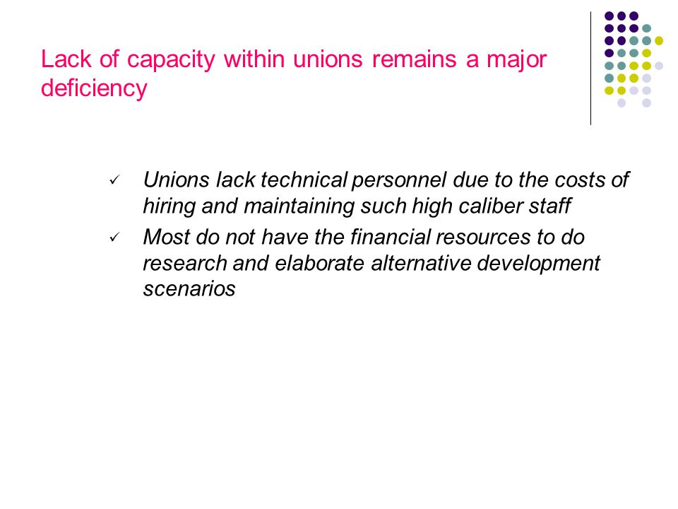 Lack of capacity within unions remains a major deficiency Unions lack technical personnel due to the costs of hiring and maintaining such high caliber staff Most do not have the financial resources to do research and elaborate alternative development scenarios