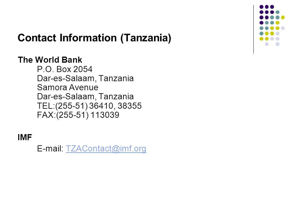 Contact Information (Tanzania) The World Bank P.O.