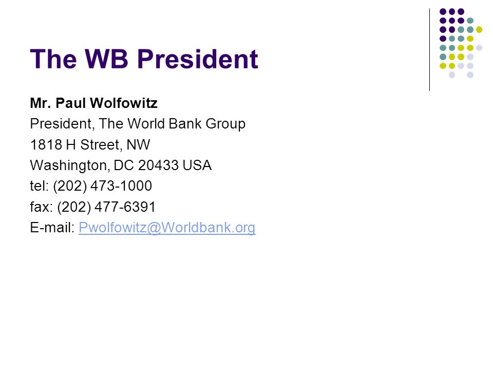 The WB President Mr.