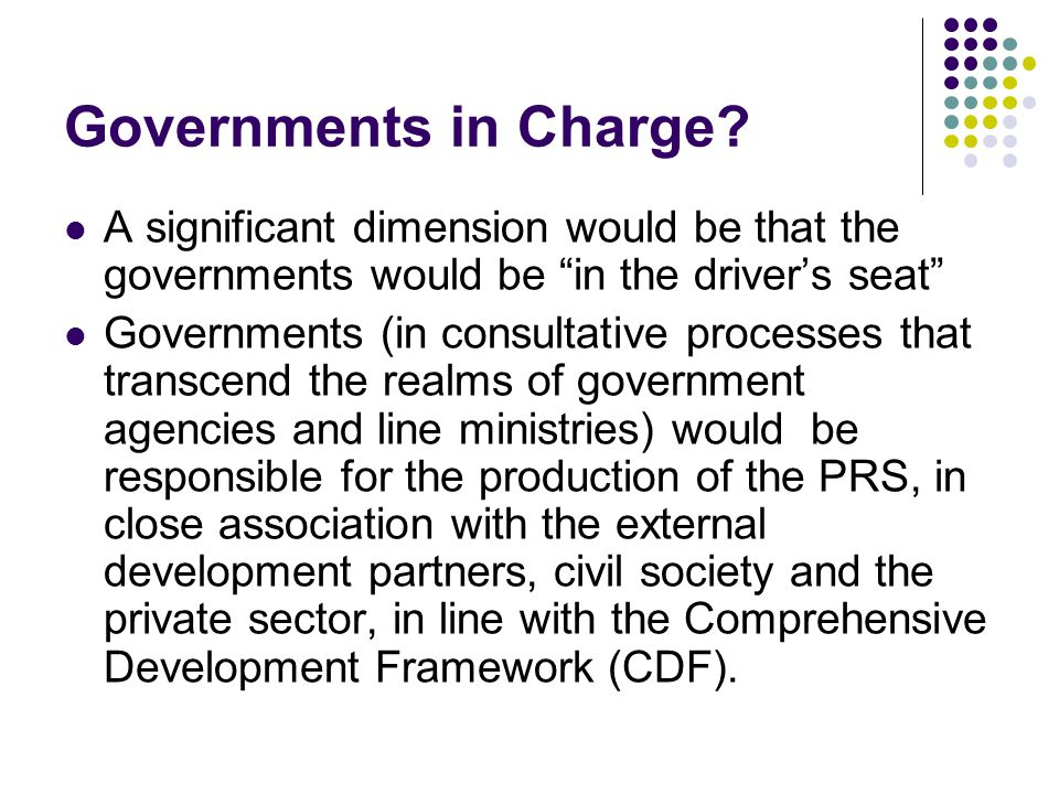 Governments in Charge.