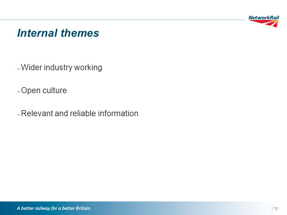 /10 Internal themes Wider industry working Open culture Relevant and reliable information