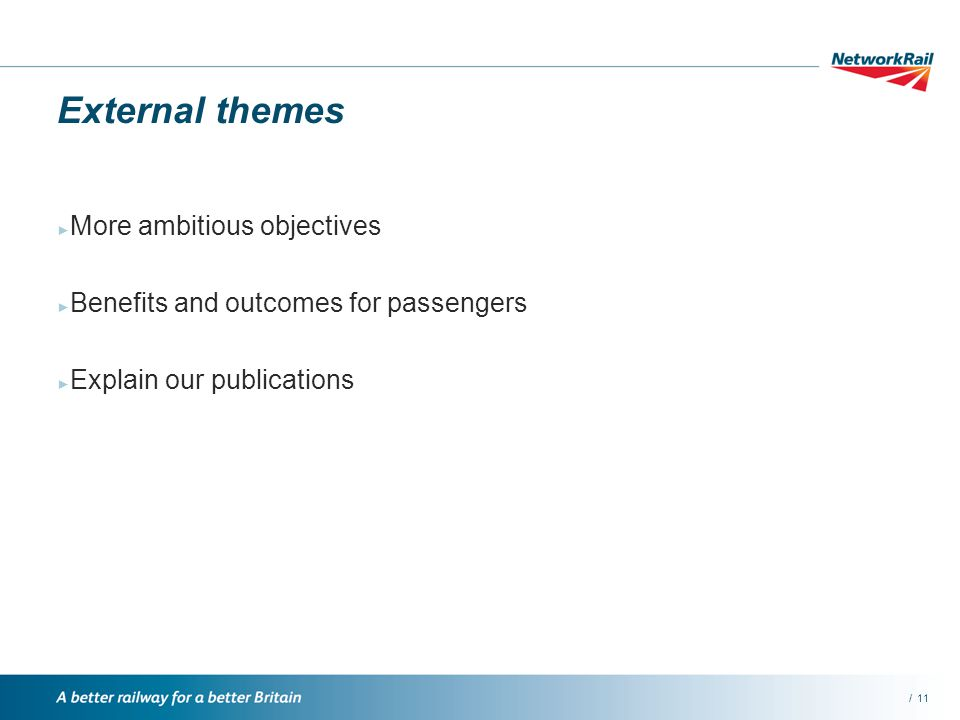 /11 External themes More ambitious objectives Benefits and outcomes for passengers Explain our publications