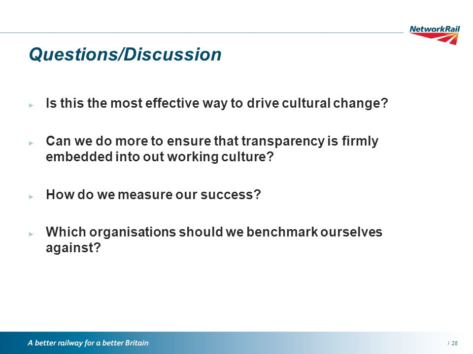 /28 Questions/Discussion Is this the most effective way to drive cultural change.