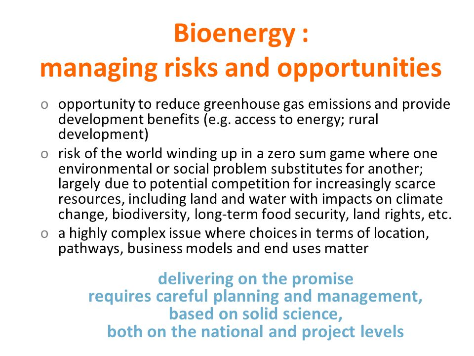 Bioenergy : managing risks and opportunities oopportunity to reduce greenhouse gas emissions and provide development benefits (e.g. access to energy;