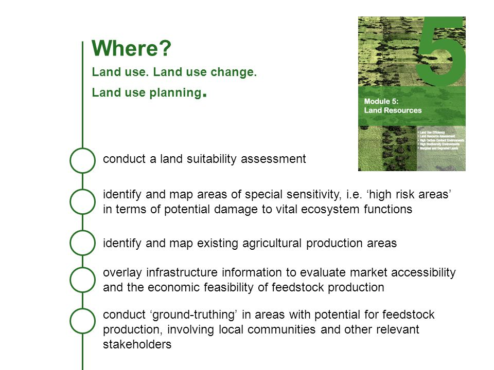 Where? Land use. Land use change. Land use planning. conduct a land suitability assessment identify and map areas of special sensitivity, i.e. high ri