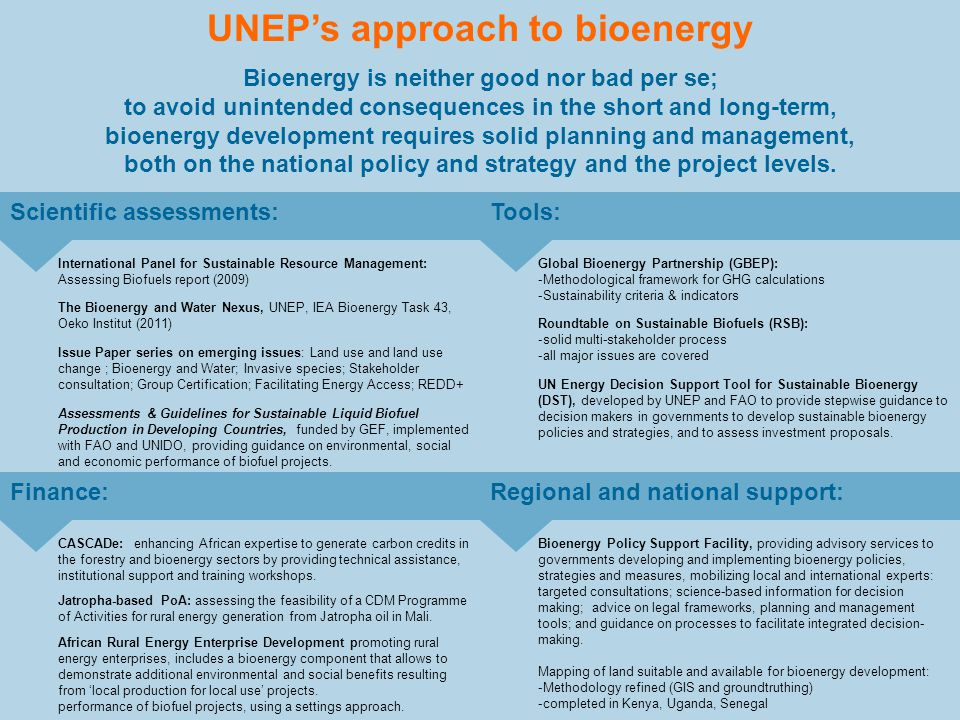 UNEPs approach to bioenergy Bioenergy is neither good nor bad per se; to avoid unintended consequences in the short and long-term, bioenergy developme