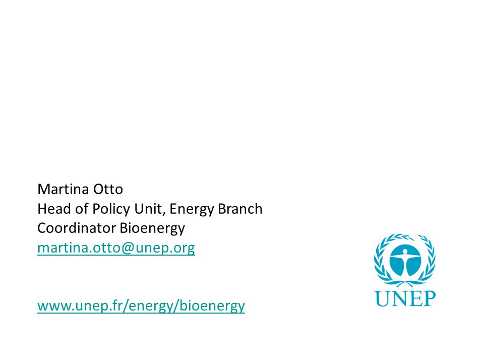 Martina Otto Head of Policy Unit, Energy Branch Coordinator Bioenergy martina.otto@unep.org www.unep.fr/energy/bioenergy