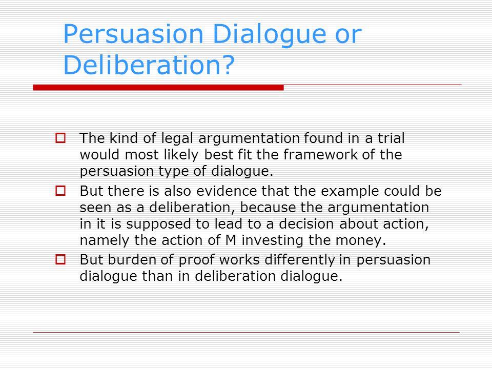 Formal Model of Deliberation In the formal model of McBurney et al.