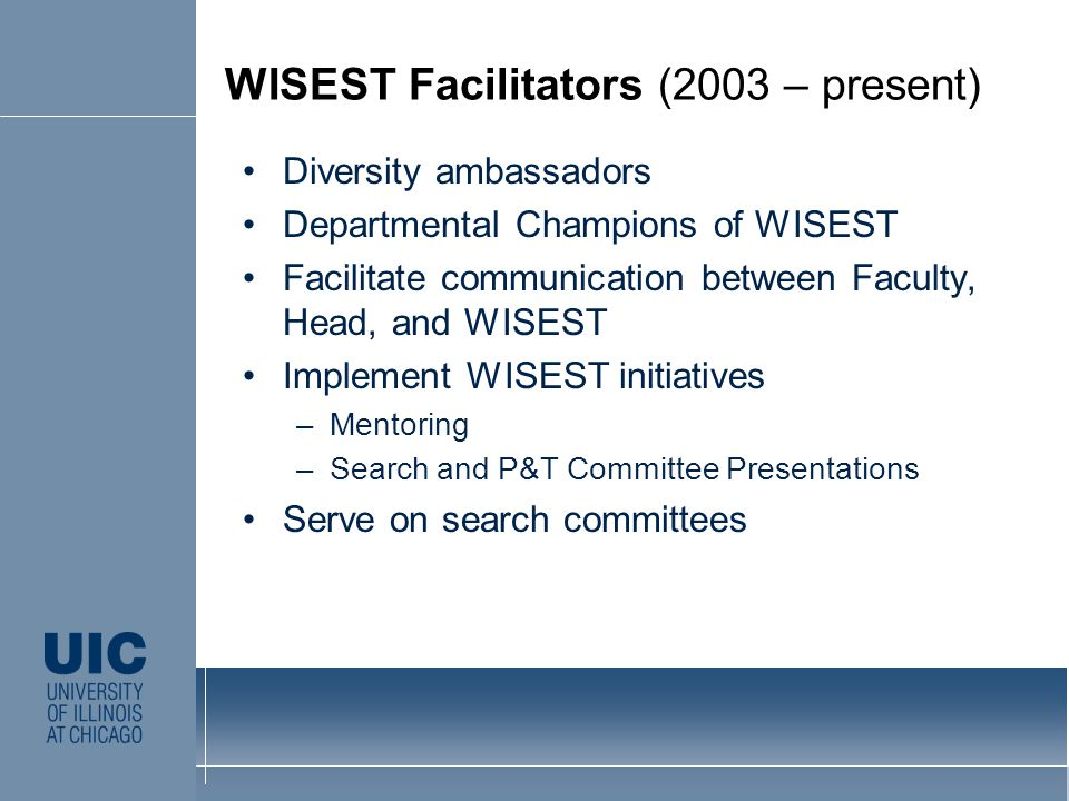 Diversity ambassadors Departmental Champions of WISEST Facilitate communication between Faculty, Head, and WISEST Implement WISEST initiatives –Mentoring –Search and P&T Committee Presentations Serve on search committees CLICK TO EDIT MASTER STYLE WISEST Facilitators (2003 – present)