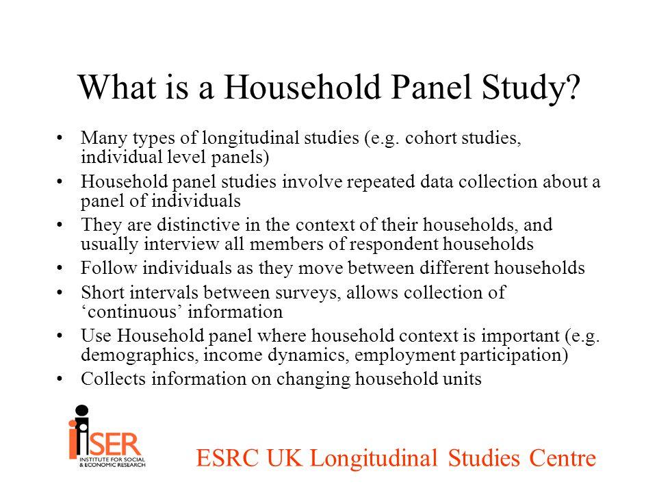 ESRC UK Longitudinal Studies Centre What is a Household Panel Study.