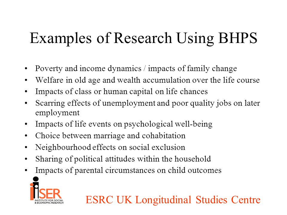 ESRC UK Longitudinal Studies Centre Examples of Research Using BHPS Poverty and income dynamics / impacts of family change Welfare in old age and wealth accumulation over the life course Impacts of class or human capital on life chances Scarring effects of unemployment and poor quality jobs on later employment Impacts of life events on psychological well-being Choice between marriage and cohabitation Neighbourhood effects on social exclusion Sharing of political attitudes within the household Impacts of parental circumstances on child outcomes