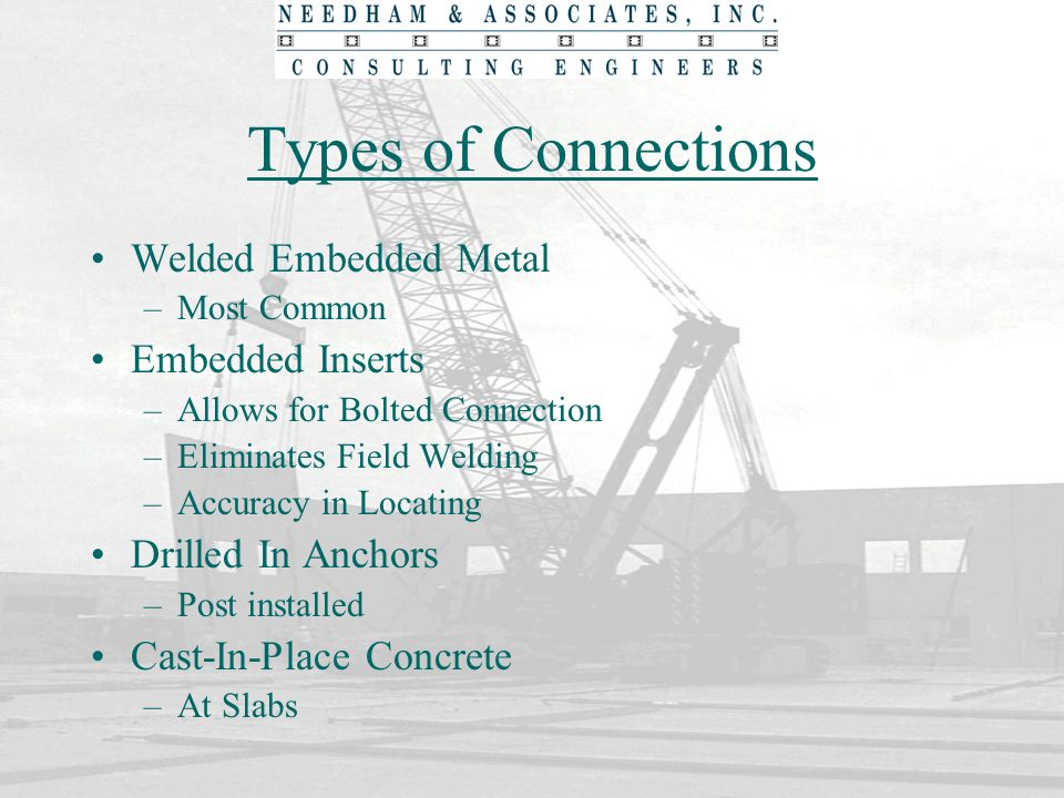 Types of Connections Welded Embedded Metal –Most Common Embedded Inserts –Allows for Bolted Connection –Eliminates Field Welding –Accuracy in Locating