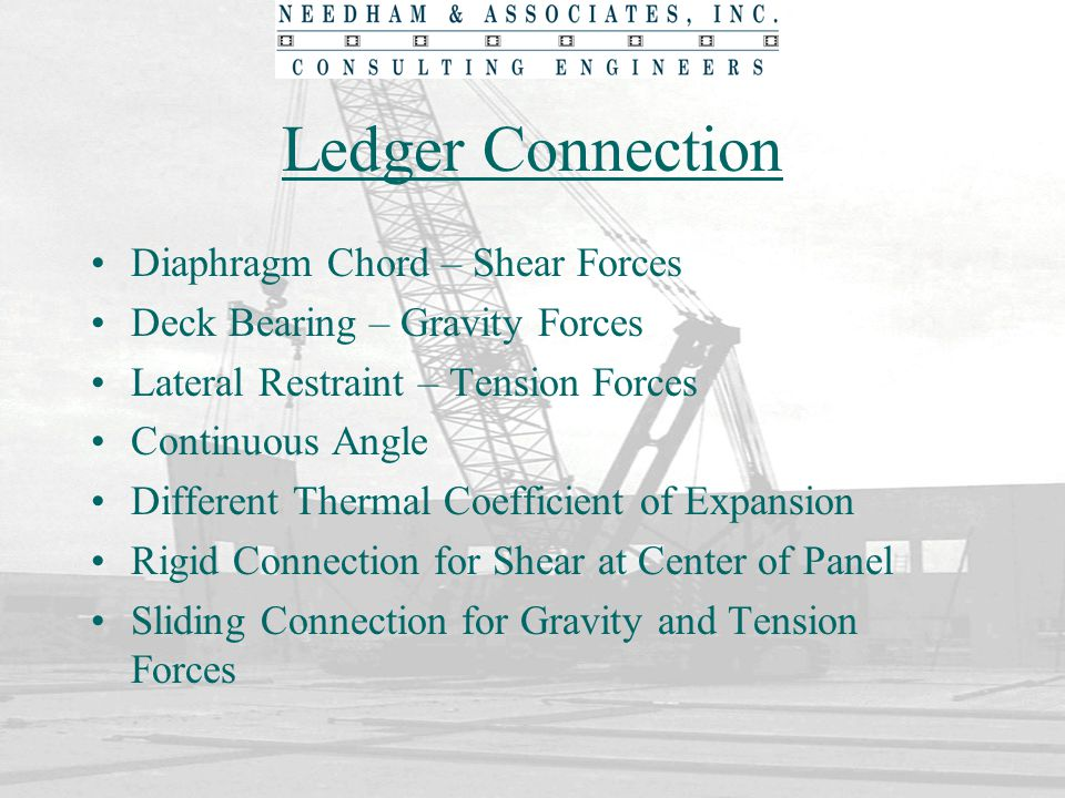 Ledger Connection Diaphragm Chord – Shear Forces Deck Bearing – Gravity Forces Lateral Restraint – Tension Forces Continuous Angle Different Thermal C