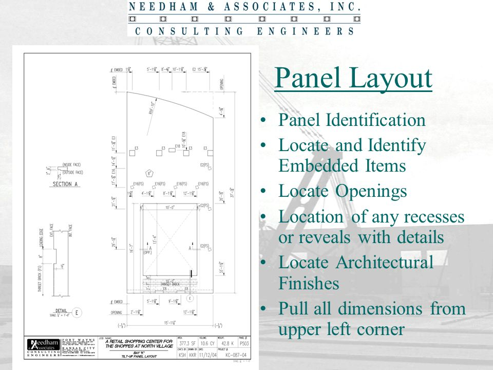 Panel Layout Panel Identification Locate and Identify Embedded Items Locate Openings Location of any recesses or reveals with details Locate Architect