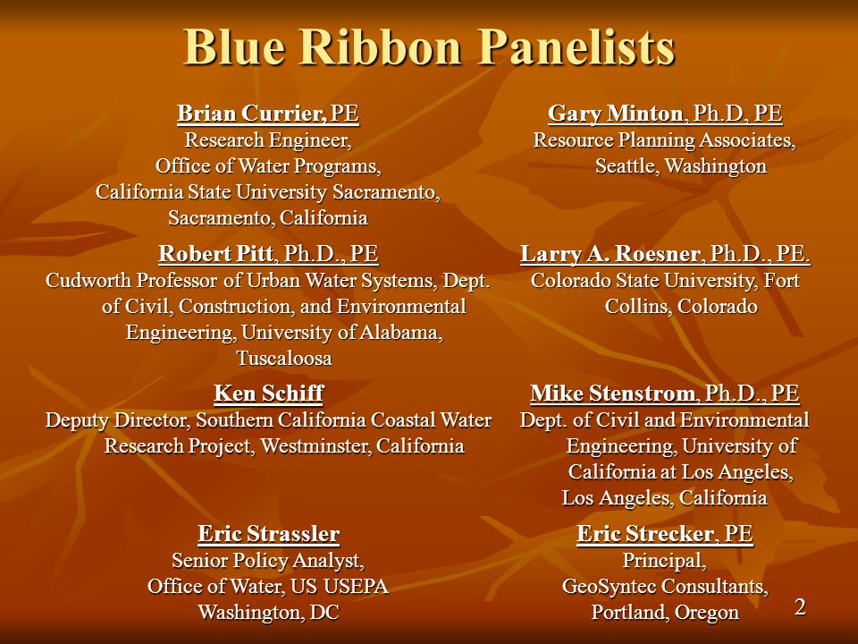 Blue Ribbon Panelists Brian Currier, PE Research Engineer, Office of Water Programs, California State University Sacramento, Sacramento, California Gary Minton, Ph.D, PE Resource Planning Associates, Seattle, Washington Robert Pitt, Ph.D., PE Cudworth Professor of Urban Water Systems, Dept.