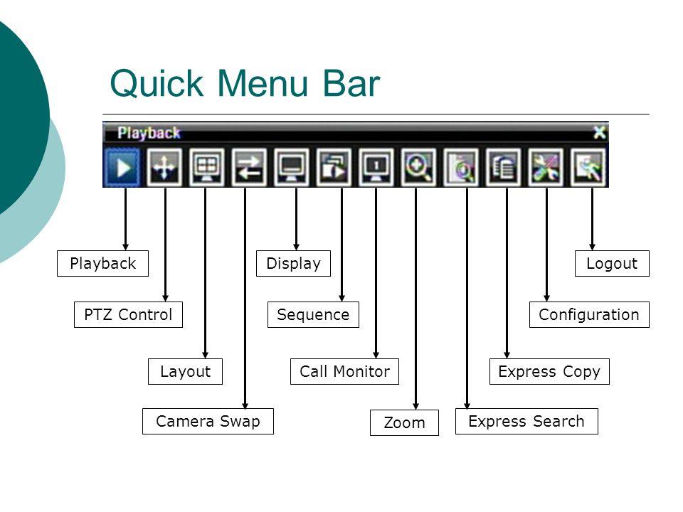 Quick Menu Bar Playback Call Monitor Zoom Express Search Express Copy Configuration LogoutDisplay PTZ Control Layout Sequence Camera Swap