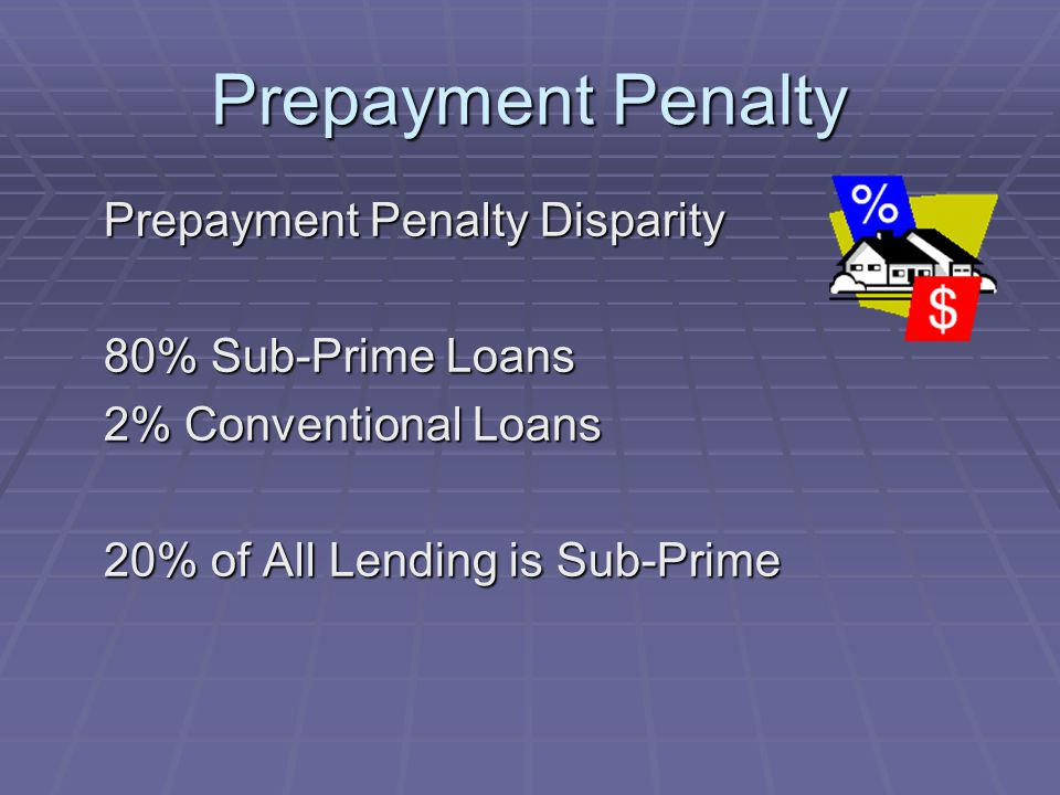 Prepayment Penalty Prepayment Penalty Disparity 80% Sub-Prime Loans 2% Conventional Loans 20% of All Lending is Sub-Prime