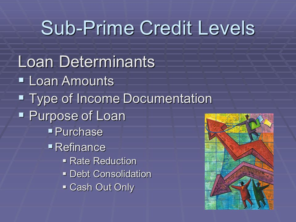 Sub-Prime Credit Levels Loan Determinants Loan Amounts Loan Amounts Type of Income Documentation Type of Income Documentation Purpose of Loan Purpose of Loan Purchase Purchase Refinance Refinance Rate Reduction Rate Reduction Debt Consolidation Debt Consolidation Cash Out Only Cash Out Only