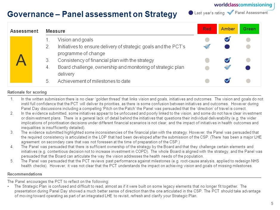 16 Competency 7 – Panel assessment Level 3214 Measure Effectively stimulate the market to meet demand and secure required clinical and health and wellbeing outcomes Panel Assessment Competency Knowledge of current and future provider capacity and capability Alignment of provider capacity with health needs projections Creation of effective choices for patients Rationale for scoring The Panel encourages the PCT to: Determine the costs and benefits of changing providers in priority segments.