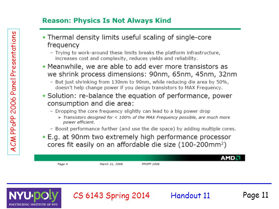 Handout 11CS 6143 Spring 2014 Page 11 ACM PPoPP 2006 Panel Presentations