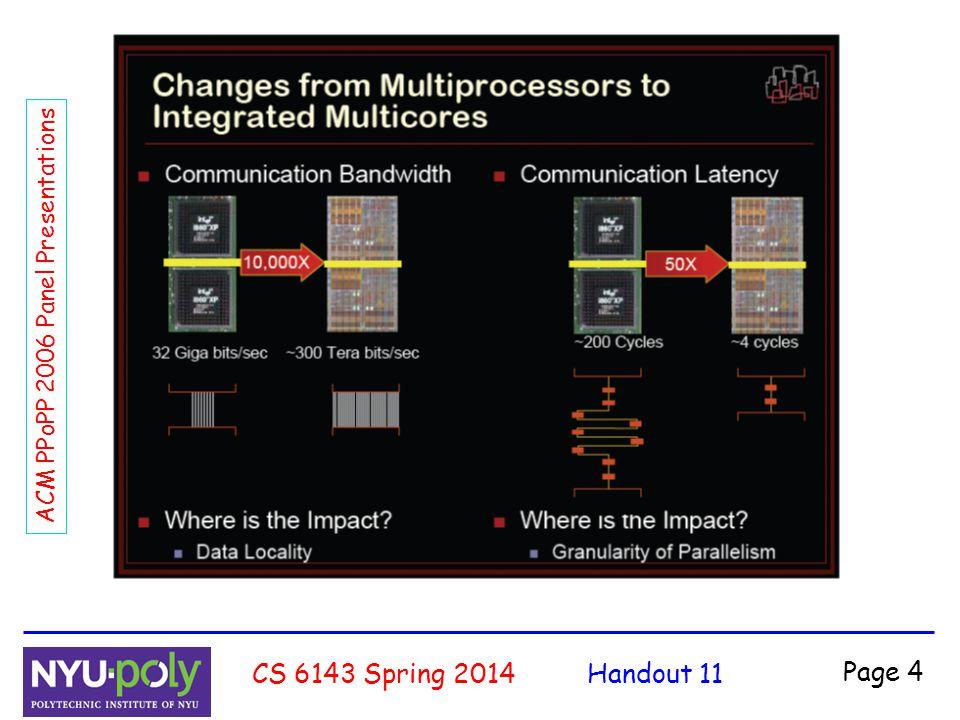 Handout 11CS 6143 Spring 2014 Page 5 ACM PPoPP 2006 Panel Presentations