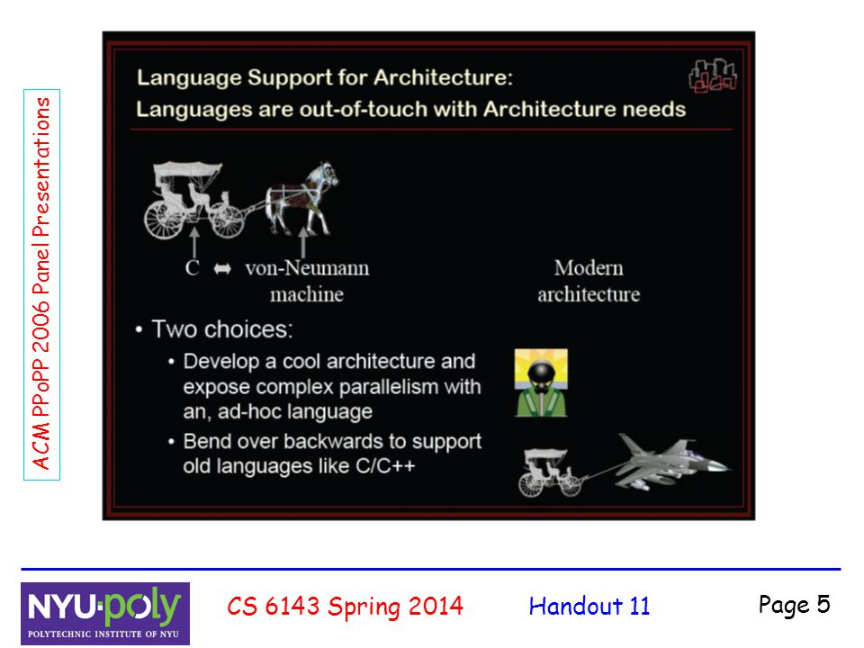 Handout 11CS 6143 Spring 2014 Page 16 ACM PPoPP 2006 Panel Presentations