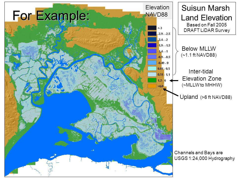 DSM2 Calibration Panel CE 12-14-06 Inter-tidal Elevation Zone (~MLLW to MHHW) ElevationNAVD88 Below MLLW (~1.1 ft NAVD88) Suisun Marsh Land Elevation Based on Fall 2005 DRAFT LiDAR Survey Upland (>6 ft NAVD88) Channels and Bays are USGS 1:24,000 Hydrography For Example: