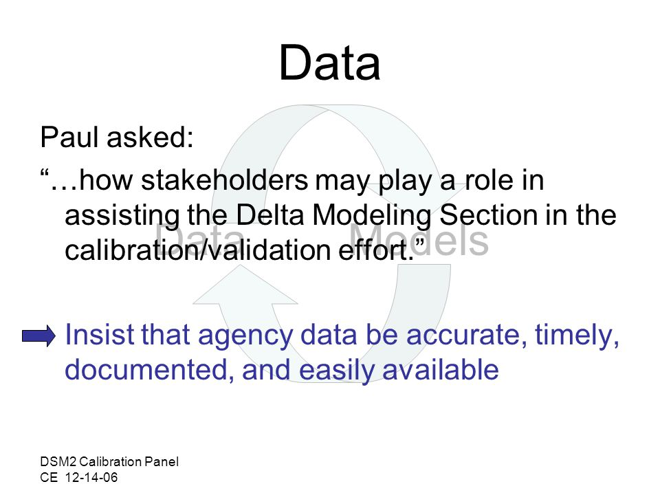 DSM2 Calibration Panel CE DataModels Data Paul asked: …how stakeholders may play a role in assisting the Delta Modeling Section in the calibration/validation effort.