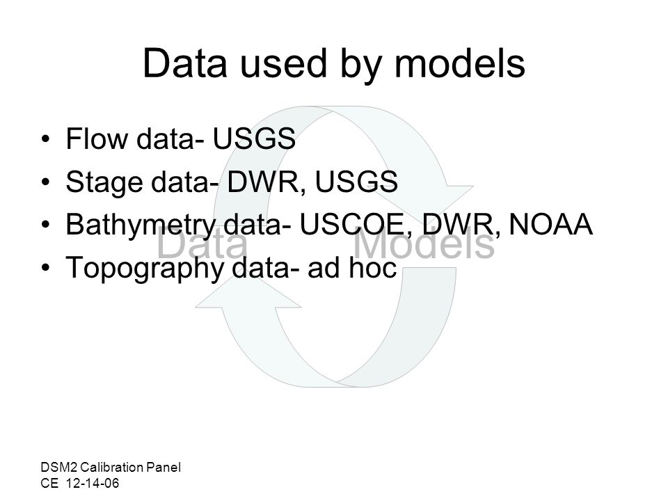 DSM2 Calibration Panel CE 12-14-06 DataModels Data used by models Flow data- USGS Stage data- DWR, USGS Bathymetry data- USCOE, DWR, NOAA Topography data- ad hoc