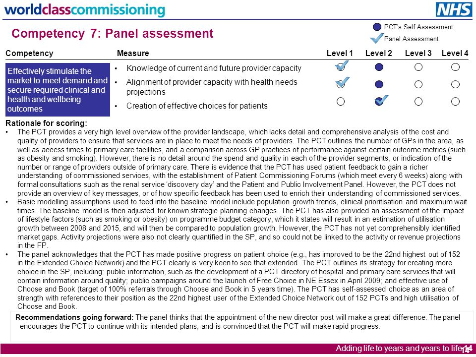 Adding life to years and years to life 14 14 Competency 7: Panel assessment Rationale for scoring: The PCT provides a very high level overview of the provider landscape, which lacks detail and comprehensive analysis of the cost and quality of providers to ensure that services are in place to meet the needs of providers.