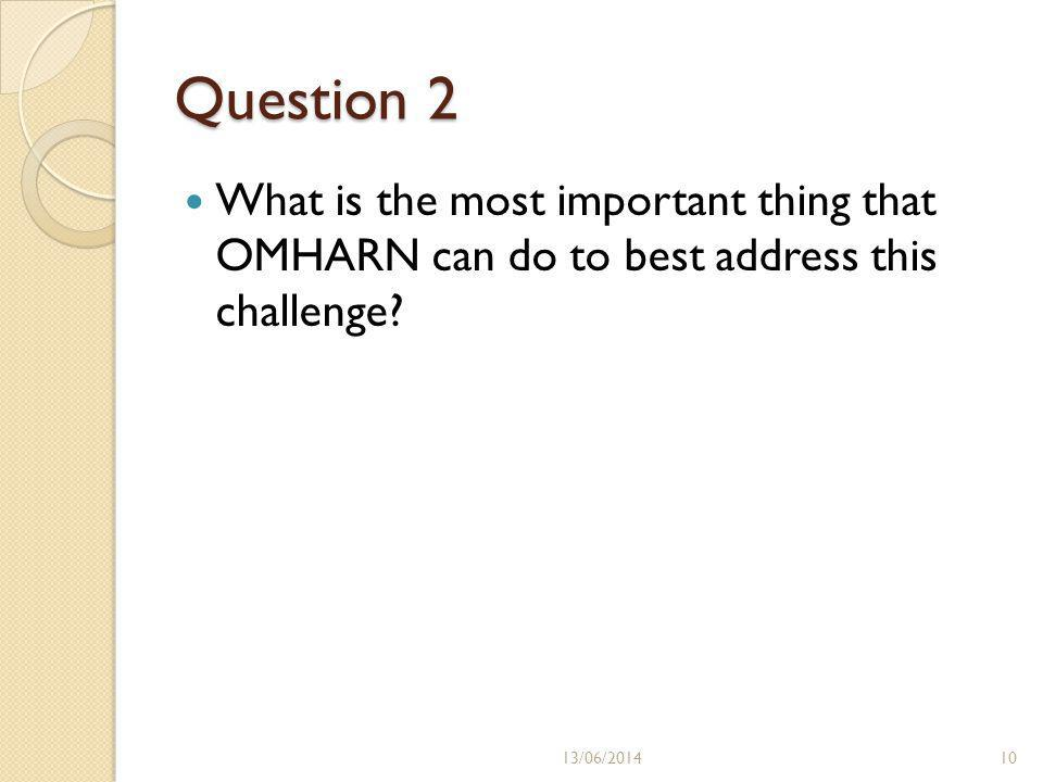 Question 2 What is the most important thing that OMHARN can do to best address this challenge.