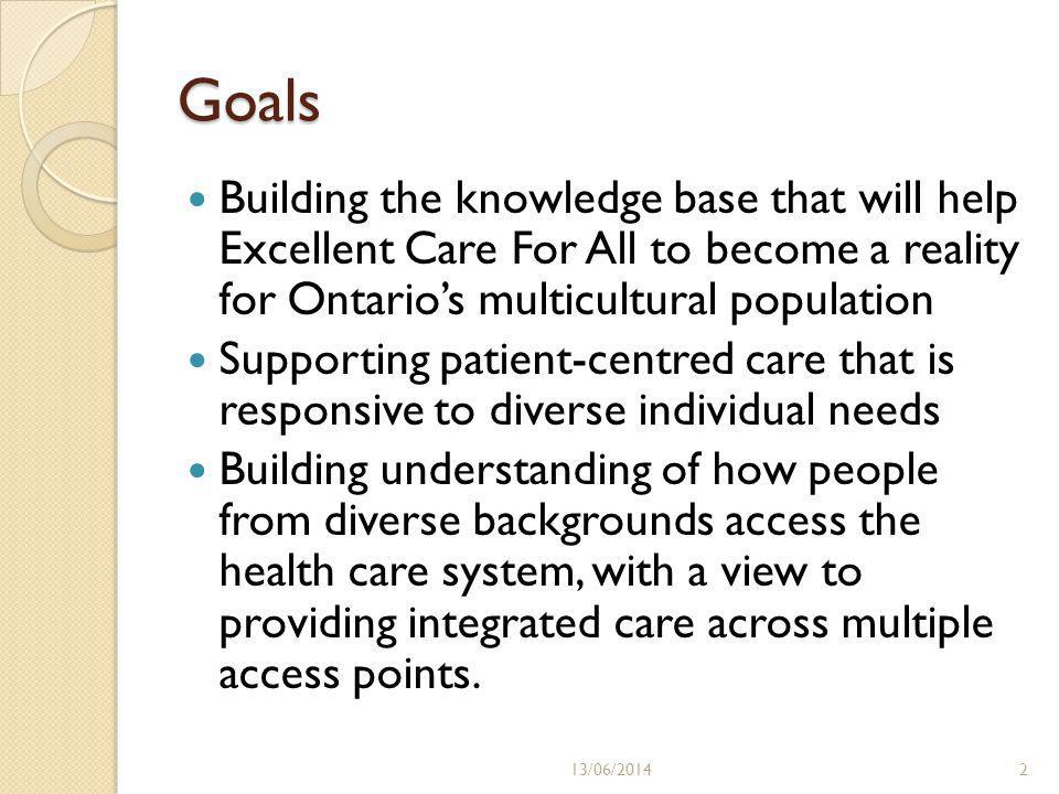 Goals Building the knowledge base that will help Excellent Care For All to become a reality for Ontarios multicultural population Supporting patient-centred care that is responsive to diverse individual needs Building understanding of how people from diverse backgrounds access the health care system, with a view to providing integrated care across multiple access points.