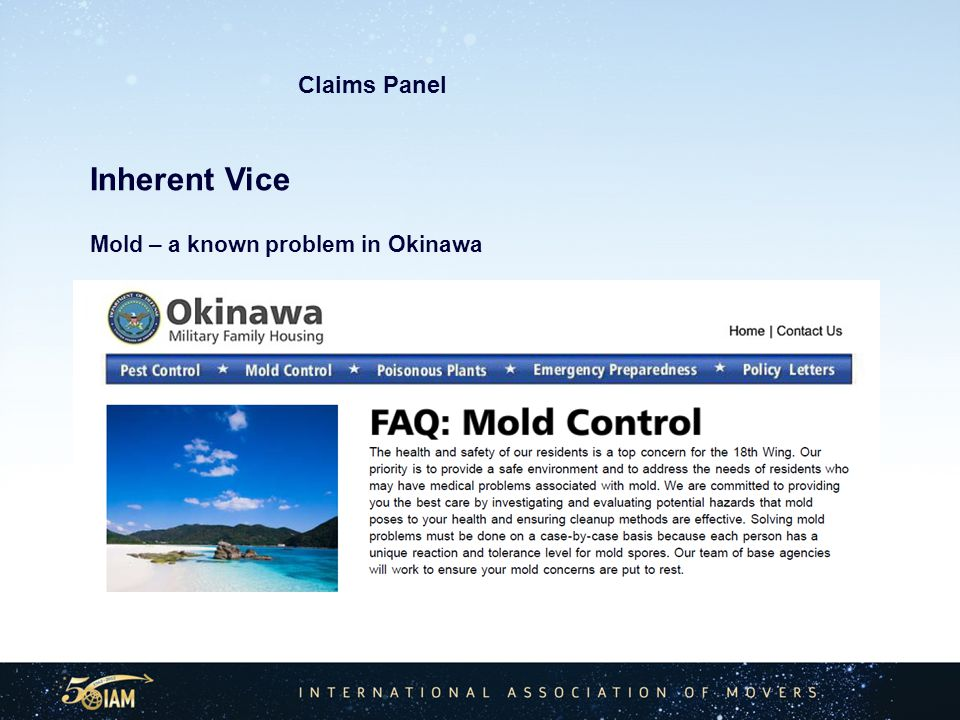 Inherent Vice Mold – a known problem in Okinawa Claims Panel