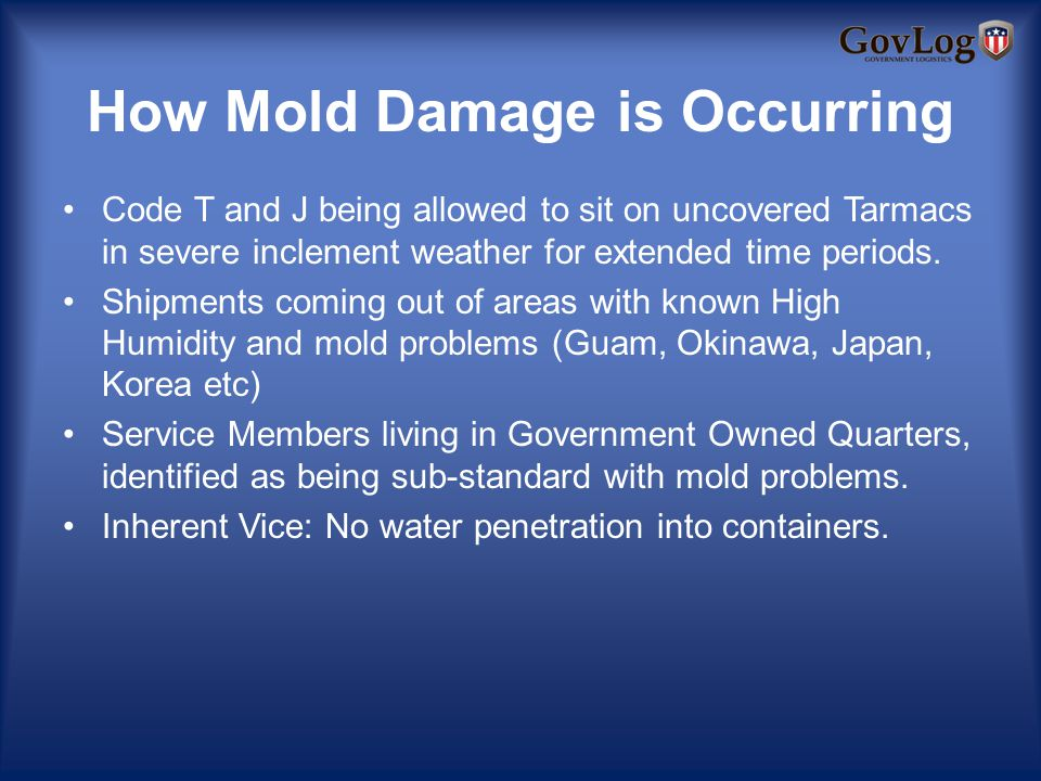 How Mold Damage is Occurring Code T and J being allowed to sit on uncovered Tarmacs in severe inclement weather for extended time periods.