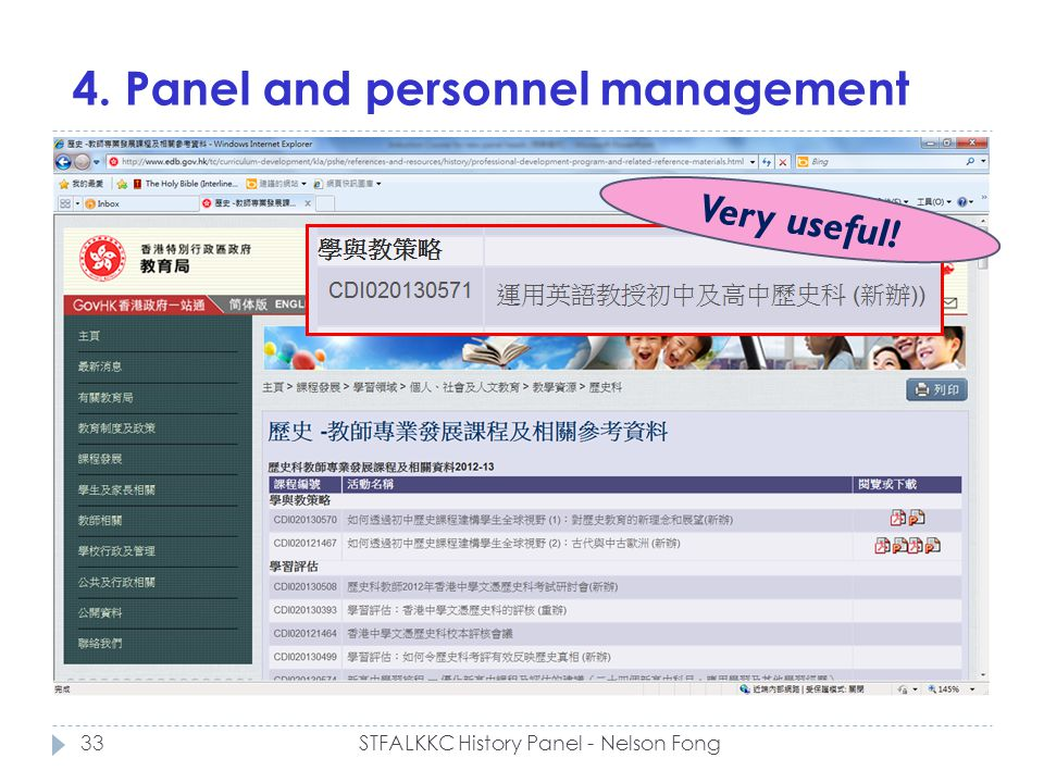 4. Panel and personnel management 33STFALKKC History Panel - Nelson Fong Very useful!